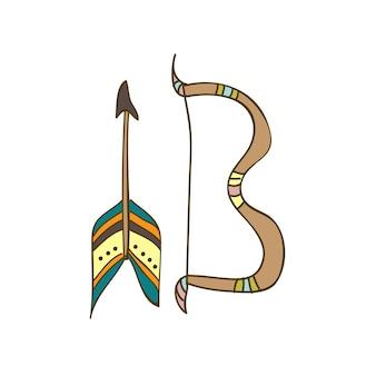 Ilustração em vetor desenhado à mão fofa, arco e flecha no estilo doodle