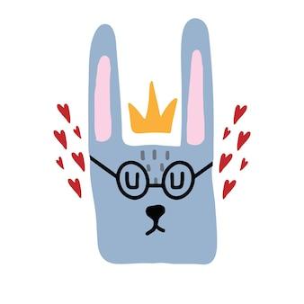 Ilustração em vetor desenhado à mão para crianças de uma lebre com óculos lebre cinza com uma coroa e corações