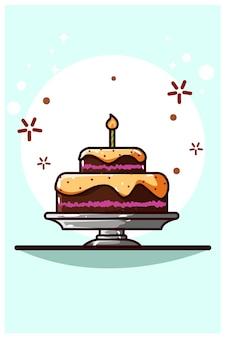 Ilustração em vetor desenho animado bolo de alcatrão de chocolate
