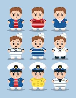 Ilustração em vetor desenho animado bonito conjunto de caracteres de marinheiro náutico