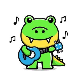 Ilustração em vetor desenho animado bonito crocodilo tocando guitarra