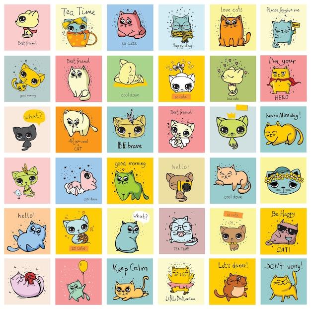 Ilustração em vetor desenho animado de gatos fofos ou gatinhos de estimação definidos no estilo simples