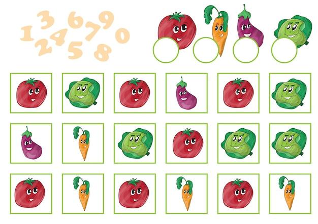 Ilustração em vetor desenho animado de jogo de contagem de educação para crianças em idade pré-escolar