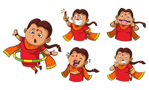 Ilustração em vetor desenho animado de mulher conjunto de adesivos