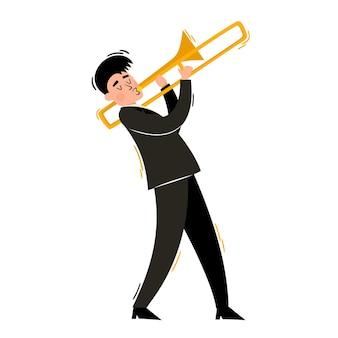 Ilustração em vetor desenho animado de trombonista isolado no branco tocando jazz soul ou blues