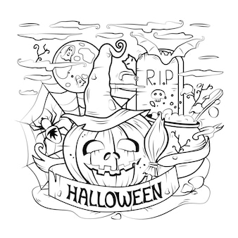 Ilustração em vetor desenho animado de uma arte linear feliz de halloween detalhada