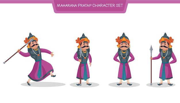 Ilustração em vetor desenho animado do conjunto de caracteres maharana pratap