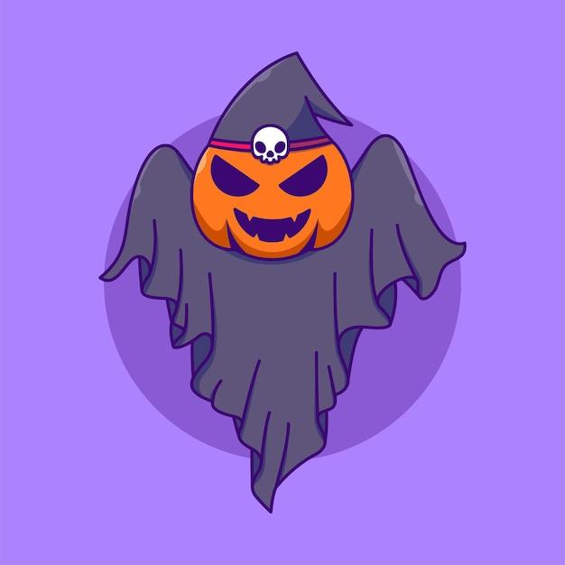 Ilustração em vetor desenho animado fantasma abóbora fofa feriado halloween isolado