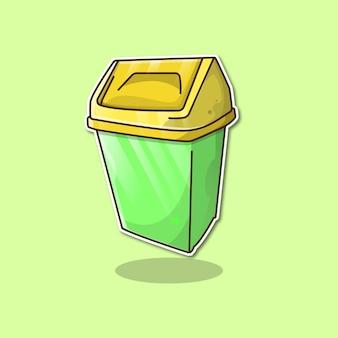 Ilustração em vetor desenho animado lata de lixo