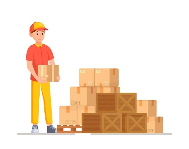 Ilustração em vetor desenho animado para entrega de estoque verificando a disponibilidade de estoque antes do envio