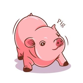 Ilustração em vetor desenho animado porco fofo