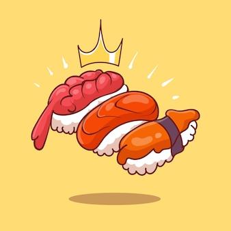 Ilustração em vetor desenho animado rolos de sushi real