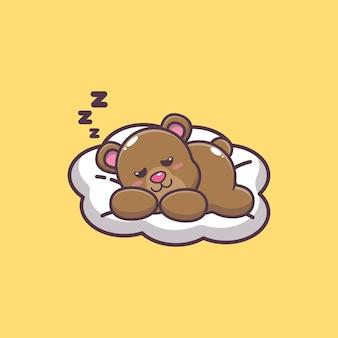 Ilustração em vetor desenho animado urso fofo