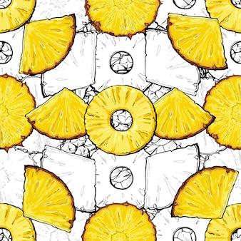 Ilustração em vetor desenho tropical tropical abacaxi ou ananás fatias verão padrão sem emenda. fundo repetível de frutas exóticas para papel de embrulho e impressão de tecido.