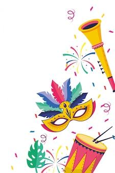 Ilustração em vetor desenhos animados instrumentos musicais brasil festa