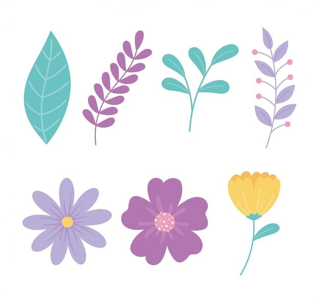 Ilustração em vetor desenhos animados ramo de flores folhas folhagem natureza decoração