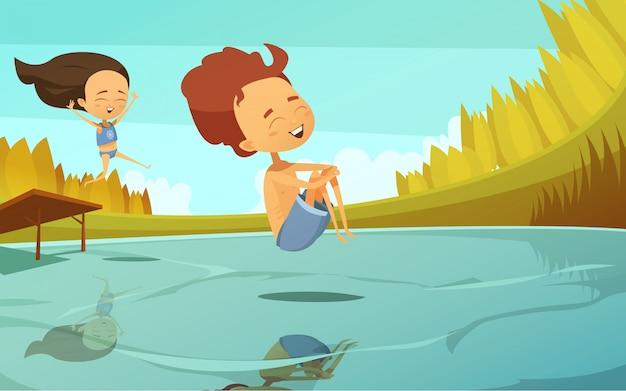 Ilustração em vetor desenhos animados verão em estilo simples