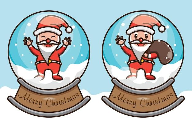 Ilustração em vetor design bonito do natal papai noel dentro da bola de neve
