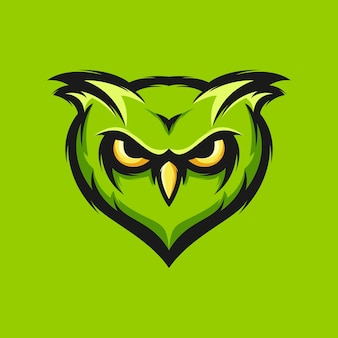 Ilustração em vetor design cabeça coruja verde