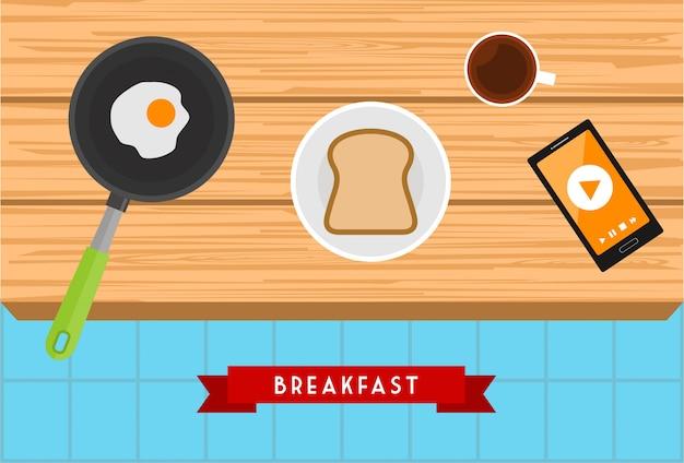 Ilustração em vetor design café da manhã