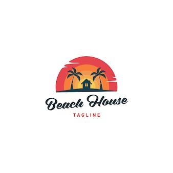 Ilustração em vetor design casa logo praia