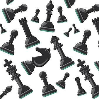 Ilustração em vetor design colorido peças fundo xadrez