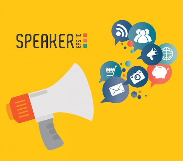 Ilustração em vetor design de alto-falante