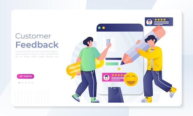 Ilustração em vetor design de conceito de revisão de feedback