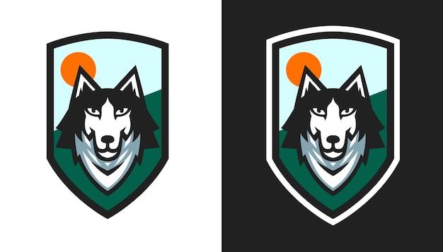 Ilustração em vetor design de emblema de cachorro husky