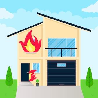 Ilustração em vetor design de estilo plano de casa em chamas com chamas de fogo nas janelas