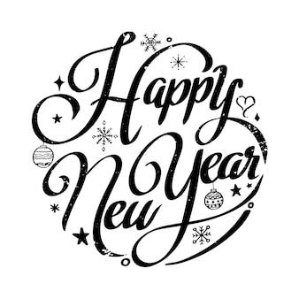 Ilustração em vetor design de letras de círculo de feliz ano novo para cartaz de cartão de natal e ano novo e elemento para promoção de publicidade