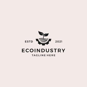 Ilustração em vetor design de logotipo da indústria ecológica