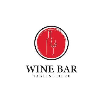 Ilustração em vetor design de logotipo de bar de vinhos