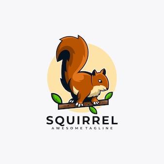 Ilustração em vetor design de logotipo de desenho animado de esquilo