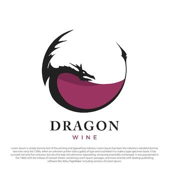 Ilustração em vetor design de logotipo de dragão e vinho criativo