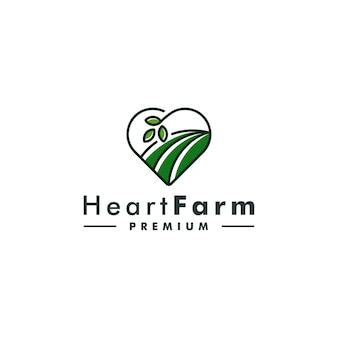 Ilustração em vetor design de logotipo de fazenda coração