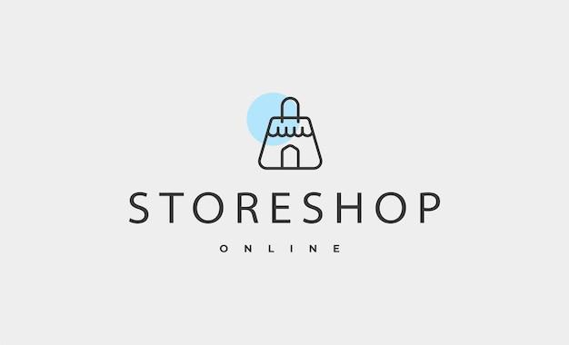 Ilustração em vetor design de logotipo de loja de sacolas de compras