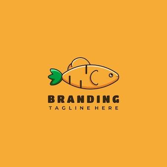 Ilustração em vetor design de logotipo de mascote cenoura e personagem de peixe