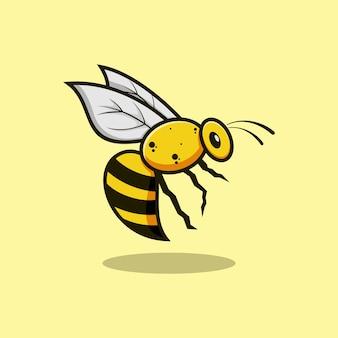 Ilustração em vetor design de logotipo de mascote de animais abelha