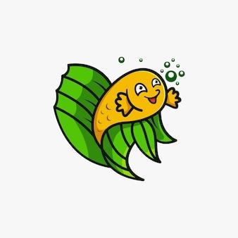 Ilustração em vetor design de logotipo de mascote de peixe