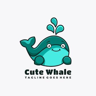 Ilustração em vetor design de logotipo de mascote de personagem de baleia