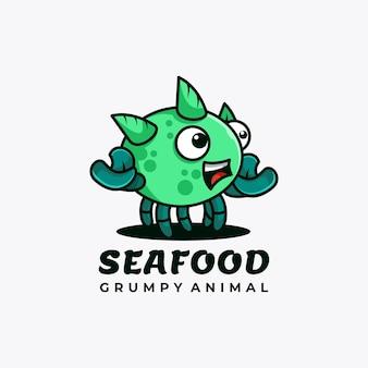 Ilustração em vetor design de logotipo de mascote de personagem de frutos do mar
