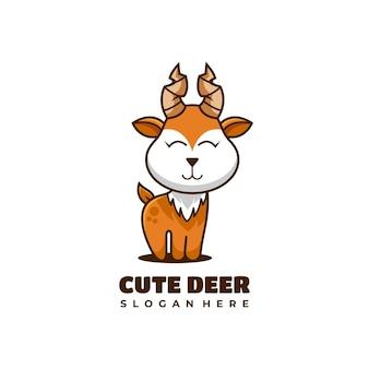 Ilustração em vetor design de logotipo de mascote de personagem de veado