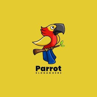 Ilustração em vetor design de logotipo de mascote de personagem papagaio