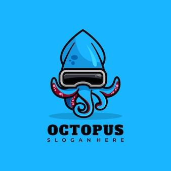 Ilustração em vetor design de logotipo de mascote de polvo