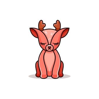 Ilustração em vetor design de logotipo de mascote de veado