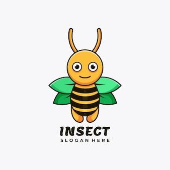 Ilustração em vetor design de logotipo de mascote personagem abelha