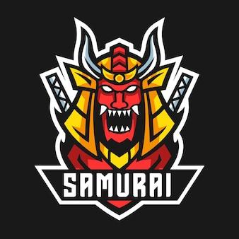 Ilustração em vetor design de logotipo de mascote samurai