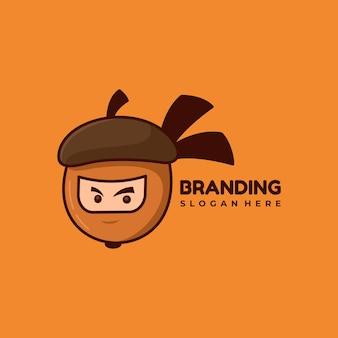 Ilustração em vetor design de logotipo de personagem amendoim e mascote ninja