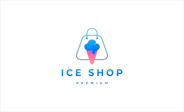 Ilustração em vetor design de logotipo de sorveteria